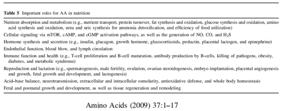 Amino acids effects as supplements